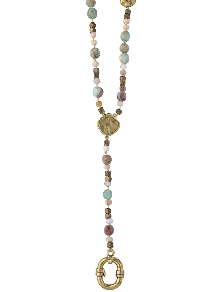 Evolution Y Necklace - Brass & Opal