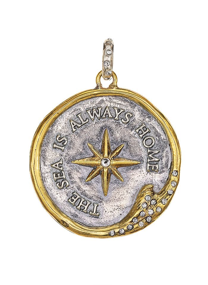 The Sea is Always Home Signature Medallion - Sterling Silver & Brass