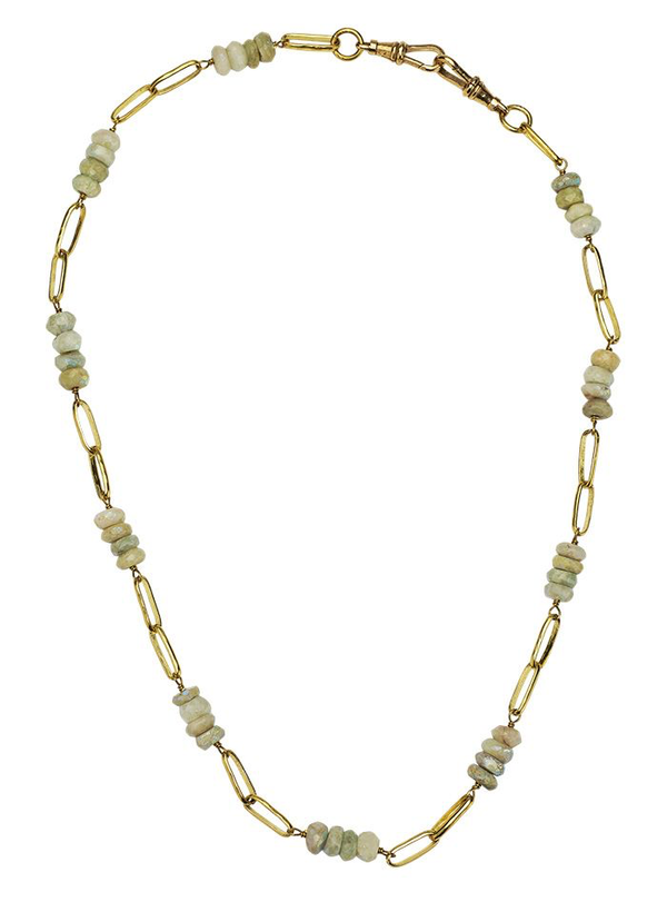 Everything Beaded Necklace 18' - Brass & White Aquamarine