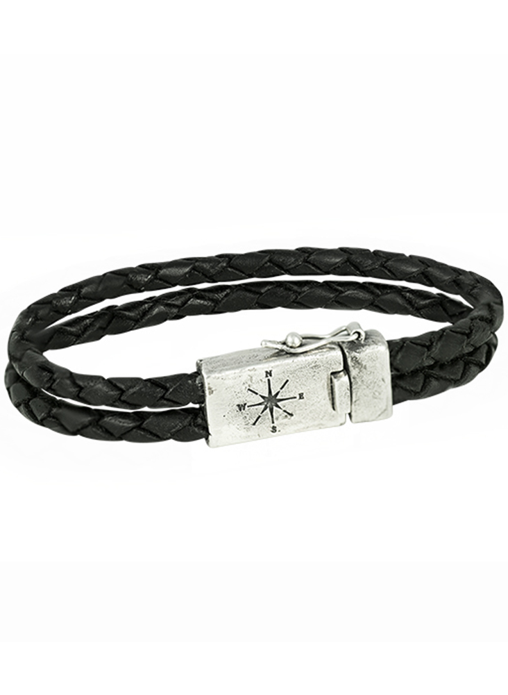Two Strand Leather Bracelet - Sterling Silver