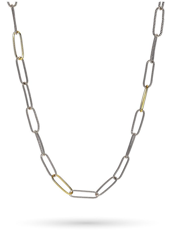 "Golden Interval Paperclip Chain 28"" - Sterling Silver & Brass"