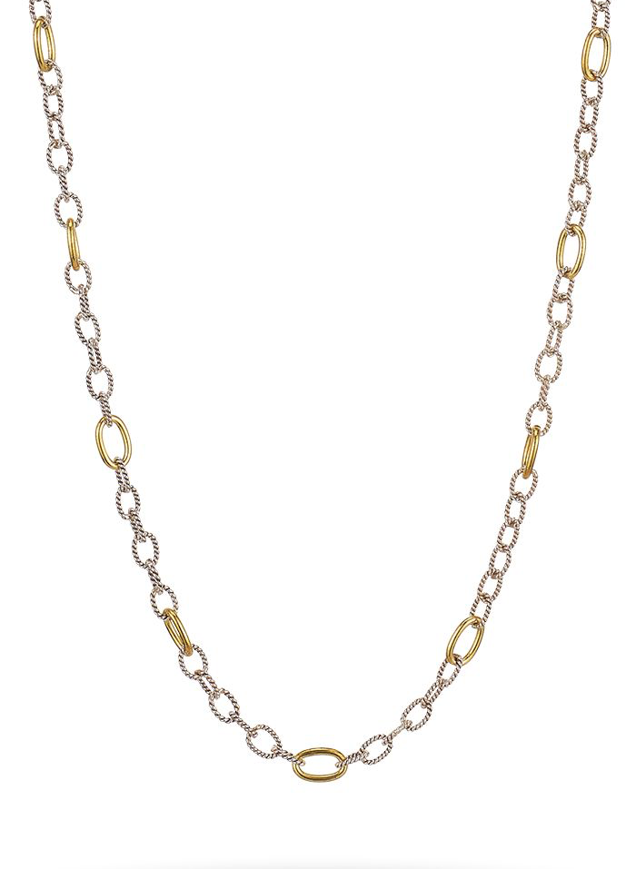 "Twisted Link with Brass Rings Chain 30"" - Silver/Brass"