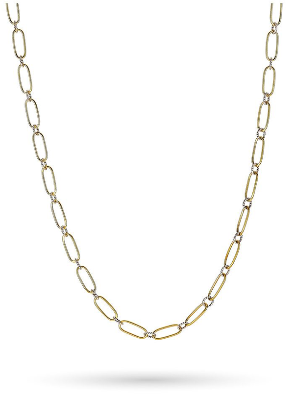 "Winding Way Paperclip Chain 30"" - Sterling Silver & Brass"