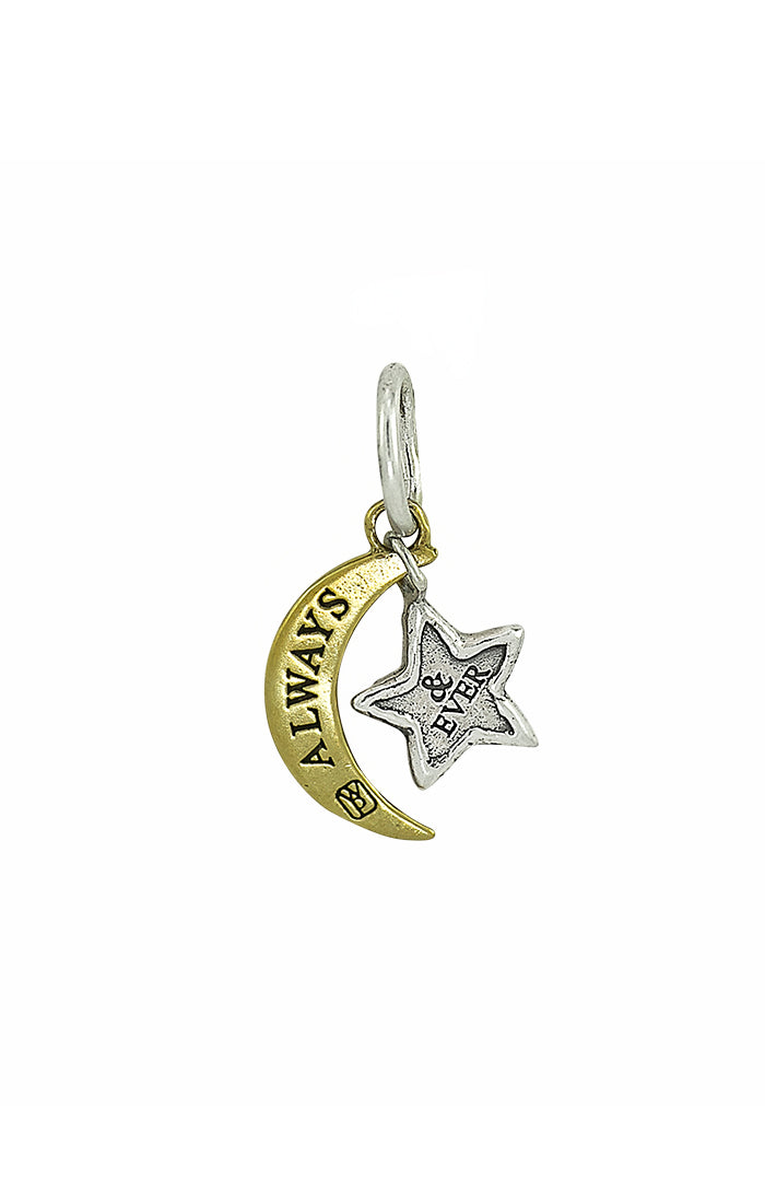 Always and Ever Charm Couplet - Brass and Sterling Silver