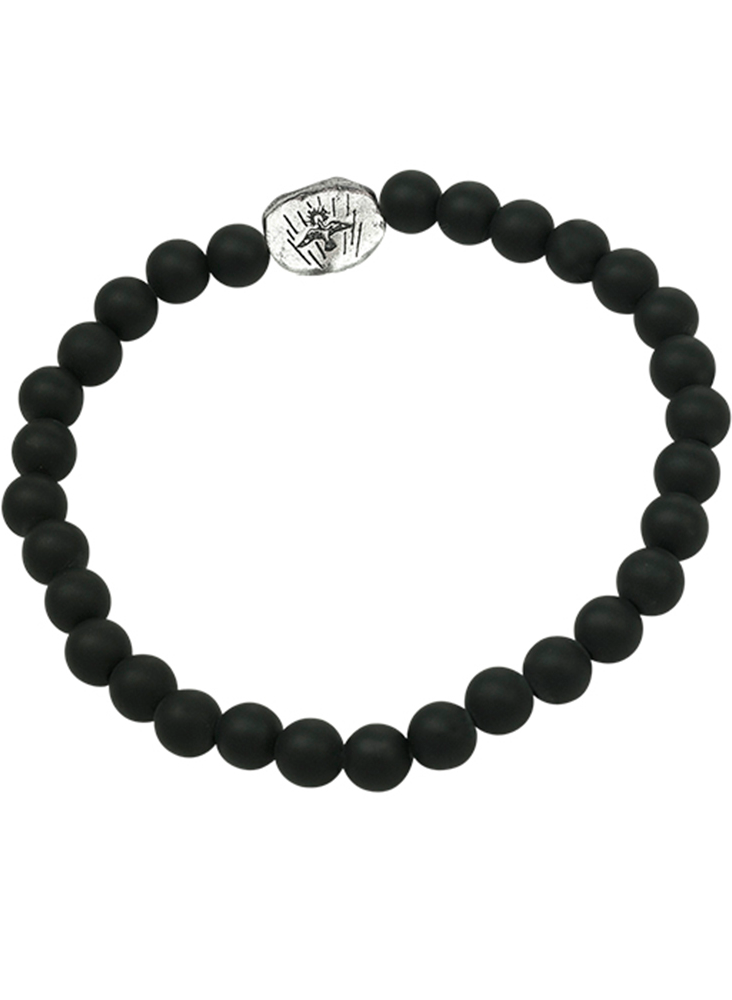 Dove Beaded Stretch Bracelet - SS & Black Onyx