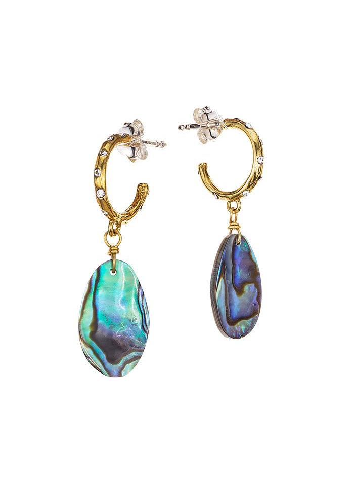 Edenic Natural Abalone Hugging Hoop Earrings - Sterling Silver & Brass