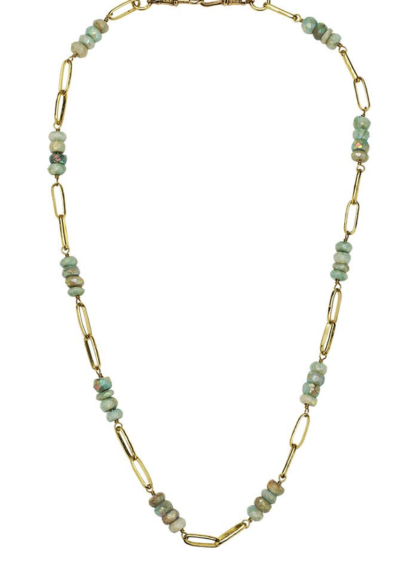 Everything Beaded Necklace 18' - Brass & Aquamarine