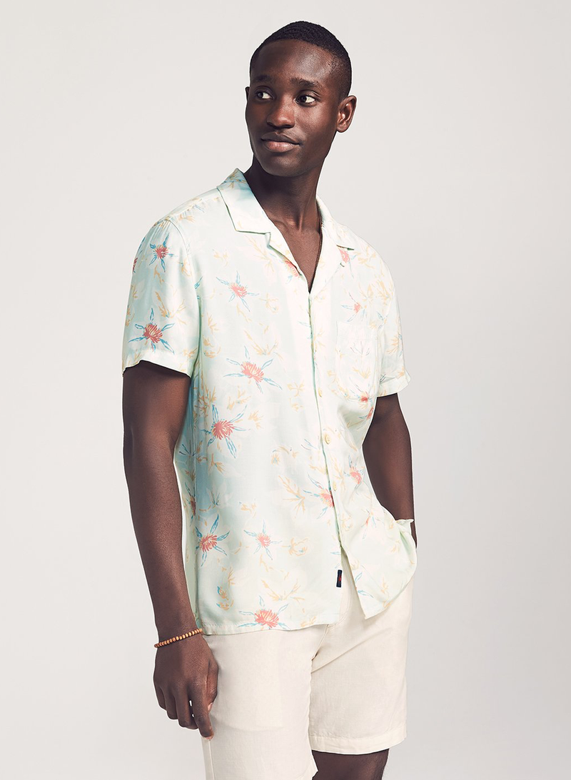 Kona Camp Shirt - Mint Floral