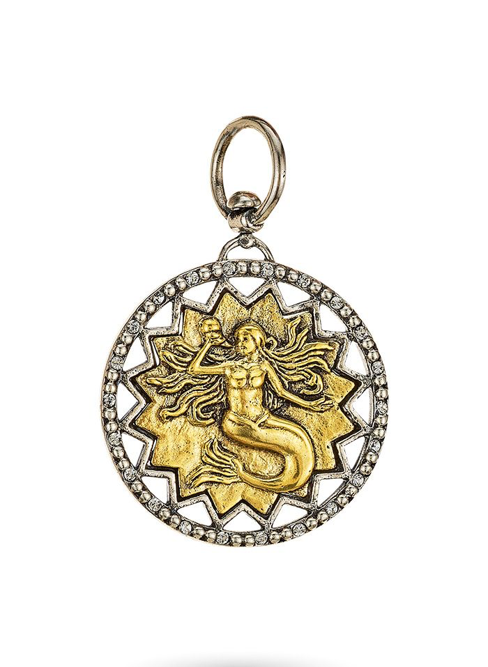 Destined to Enchant Mermaid Pendant - Sterling Silver & Brass