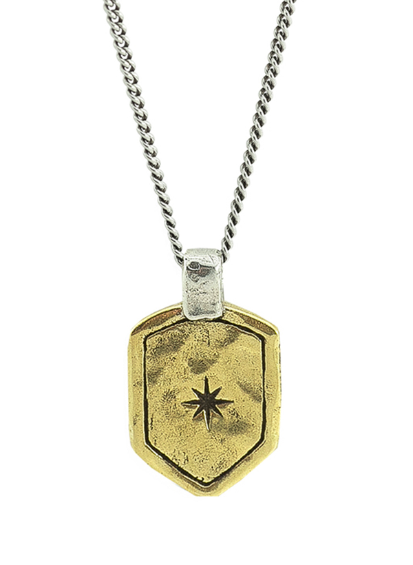 Star Shield Necklace - Brass and Sterling Silver