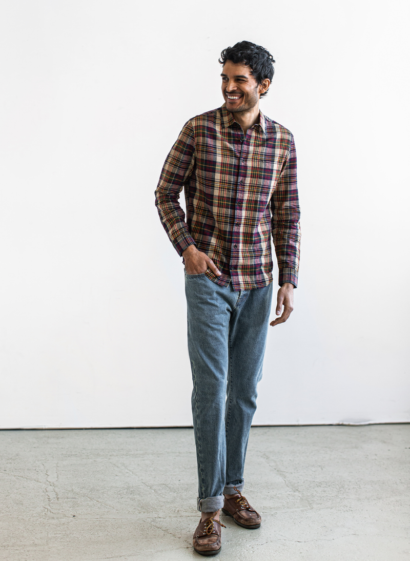 The California - Vintage Navy Madras