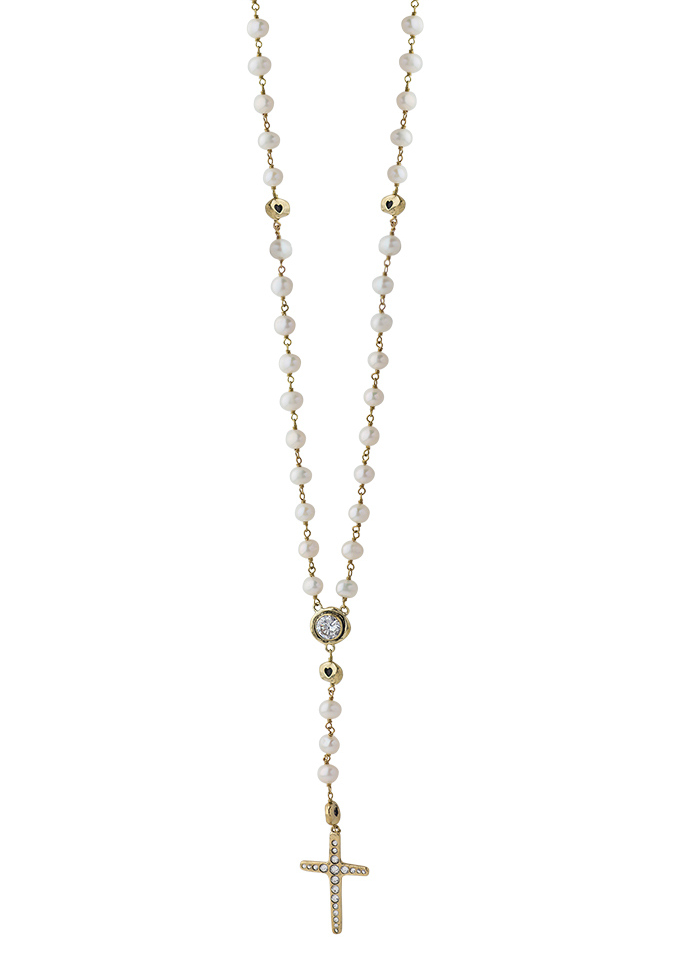 Amor Fati Rosary Necklace - Brass