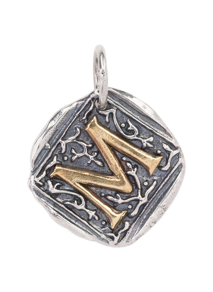 Century Insignia Charm -M- Sterling Silver & Brass
