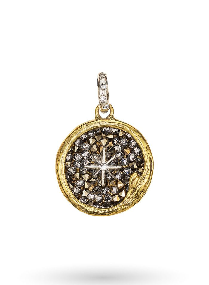 The Sea is Always Home Kristal Pendant - Sterling Silver & Brass