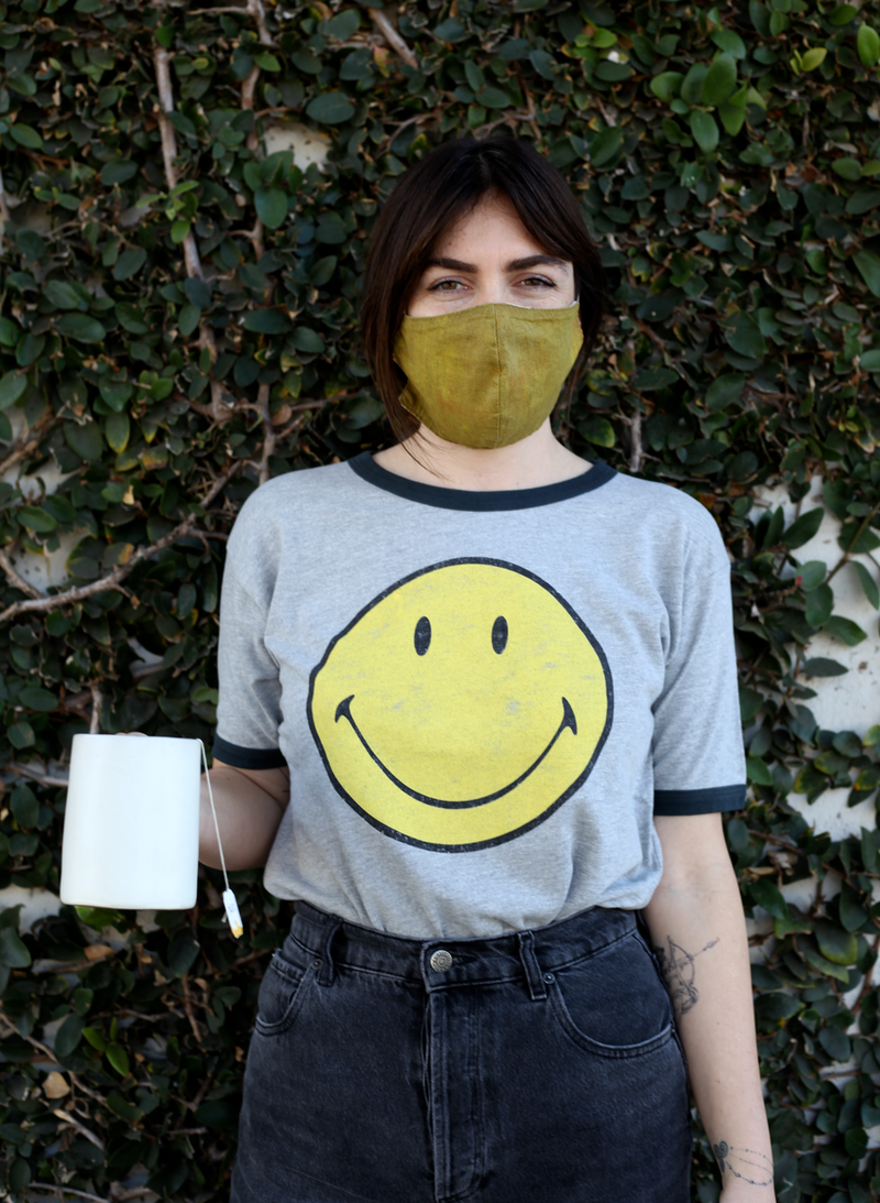 Classic Smiley Oversized Ringer Tee - Heather Grey
