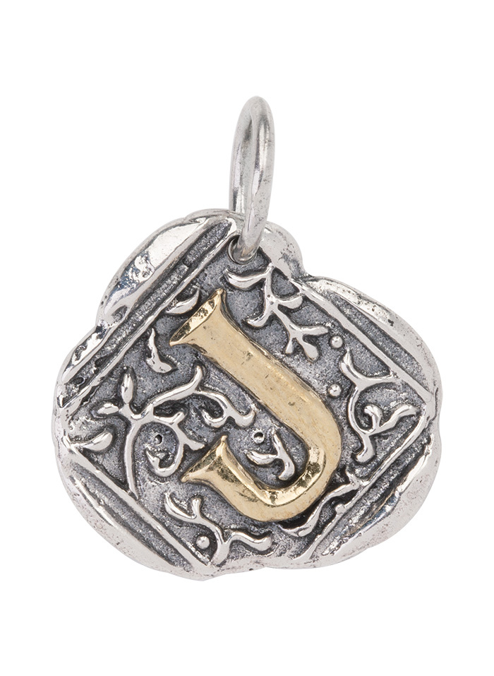 Century Insignia Charm -J- Sterling Silver & Brass