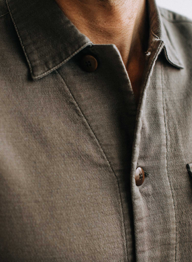 The Hemingway Shirt in Walnut Double Cloth