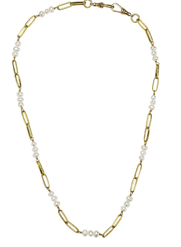 Everything Beaded Necklace 18' - Brass & Pearl