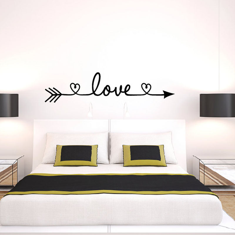 New Design Love Arrow Wall Decals Vinyl Removable Bedroom Wall Stickers  Home Decor Living Room ...