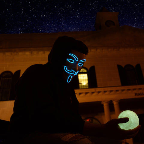 Anonymous Hacker Light Up LED Mask - Blue