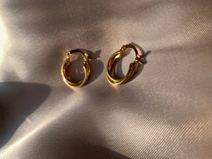 Small twisted hoops, small hoops, small gold hoops, cute twisted earrings