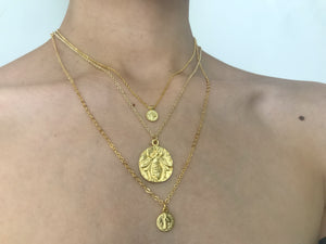 Gold Coin Necklace, Gold Bee Necklace, Gold Necklace, Coin Necklace, Gold Necklaces