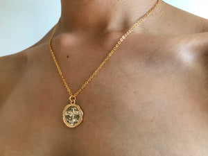Cross coin necklace, collar de cruz, collar de oro, gold necklace, gold coin necklace