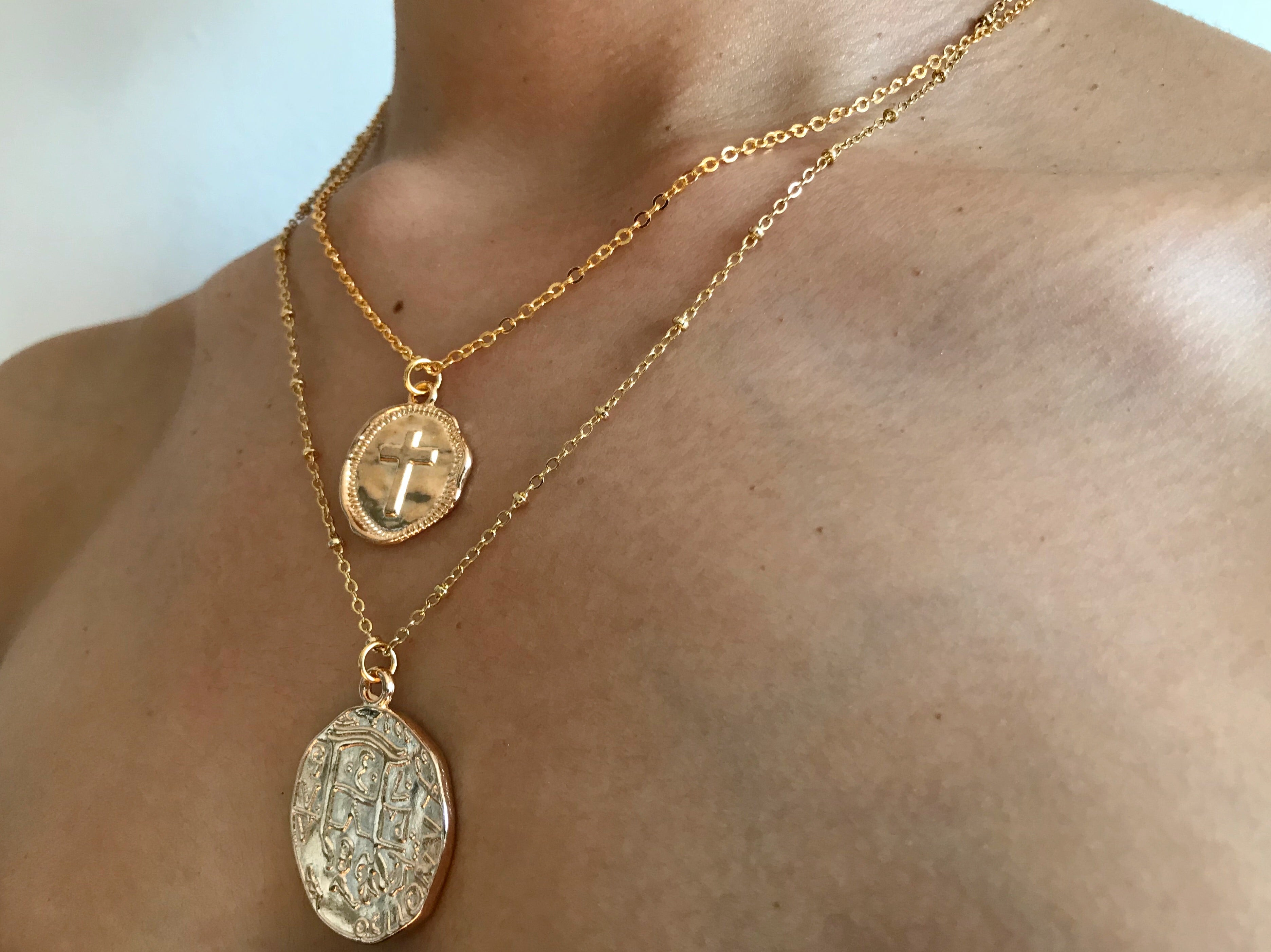 Cross coin charm necklace, cross coin necklace, cross jewelry cross stamp necklace, wax stamp jewelry, wax stamp charm, horse shoe necklace, pearl necklace, gold neckalce, small coin necklace