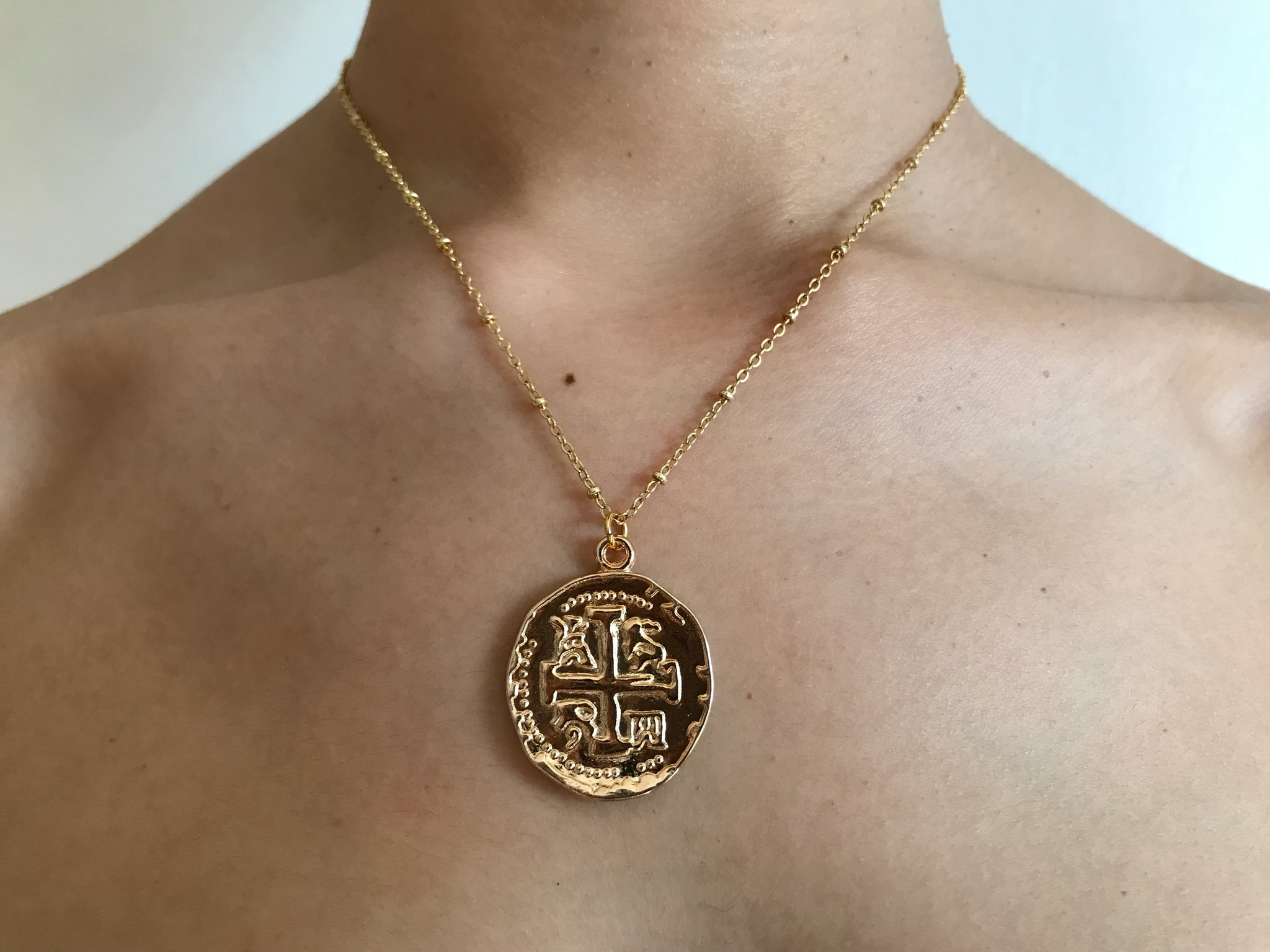 Large gold coin charm, gold charm, large charm necklace, gold coin necklace, coin jewelry, double sided coin chain