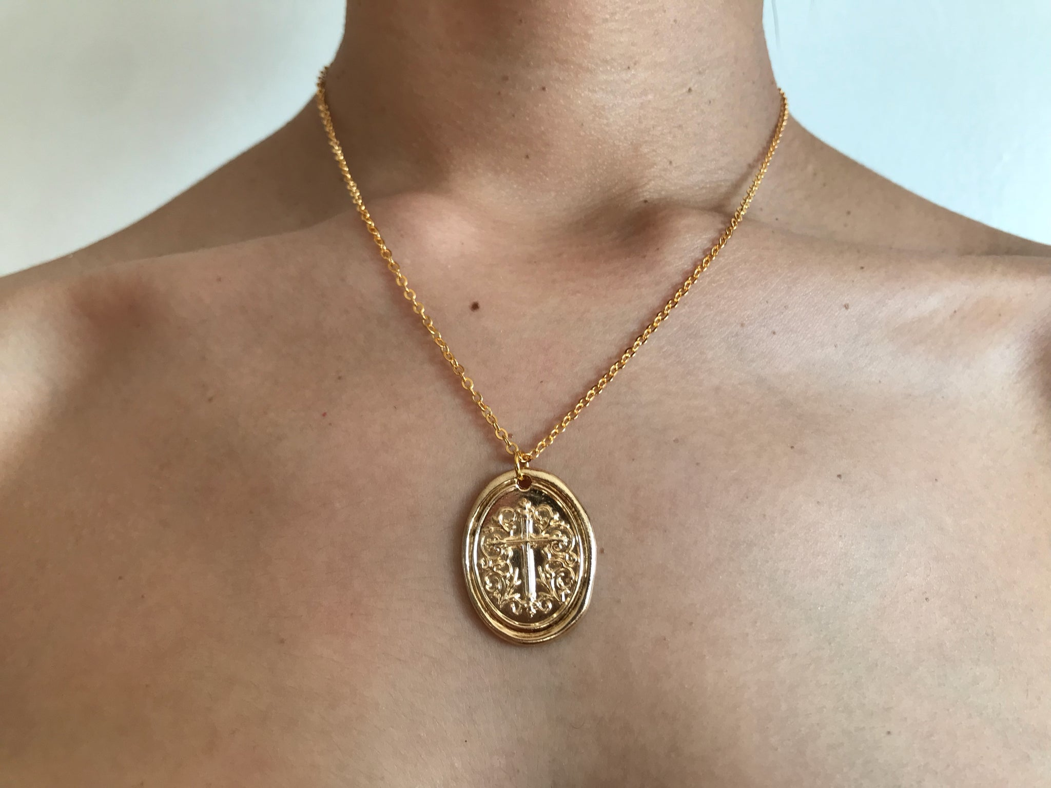 Cross coin charm necklace, cross coin necklace, cross jewelry cross stamp necklace, wax stamp jewelry, wax stamp charm, horse shoe necklace, pearl necklace, gold neckalce