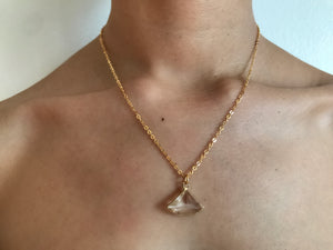 Crystal necklace, triangle necklace, triangle jewelry, crystal jewelry, coin jewelry