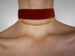 gold choker, gold chain, thin choker, gold choker chain, gold choker necklace, orange choker, velvet choker