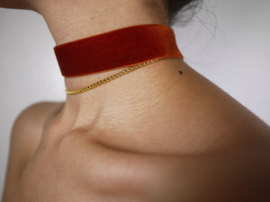 gold choker, gold chain, thin choker, gold choker chain, gold choker necklace, orange necklace, orange velvet, velvet choker