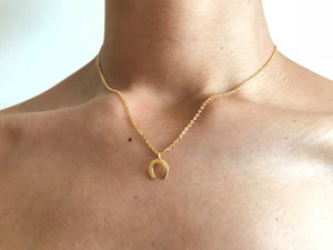 Horse shoe necklace, tiny gold charm necklace, lucky necklace, gold necklace