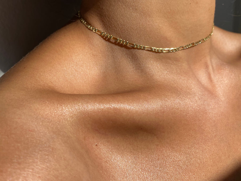 gold choker, gold chain, thin choker, gold choker chain, gold choker necklace, figaro gold choker, figaro chain necklace
