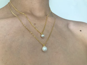 Pearl necklace, large pearl necklace, gold pearl necklace, stack pearl necklace