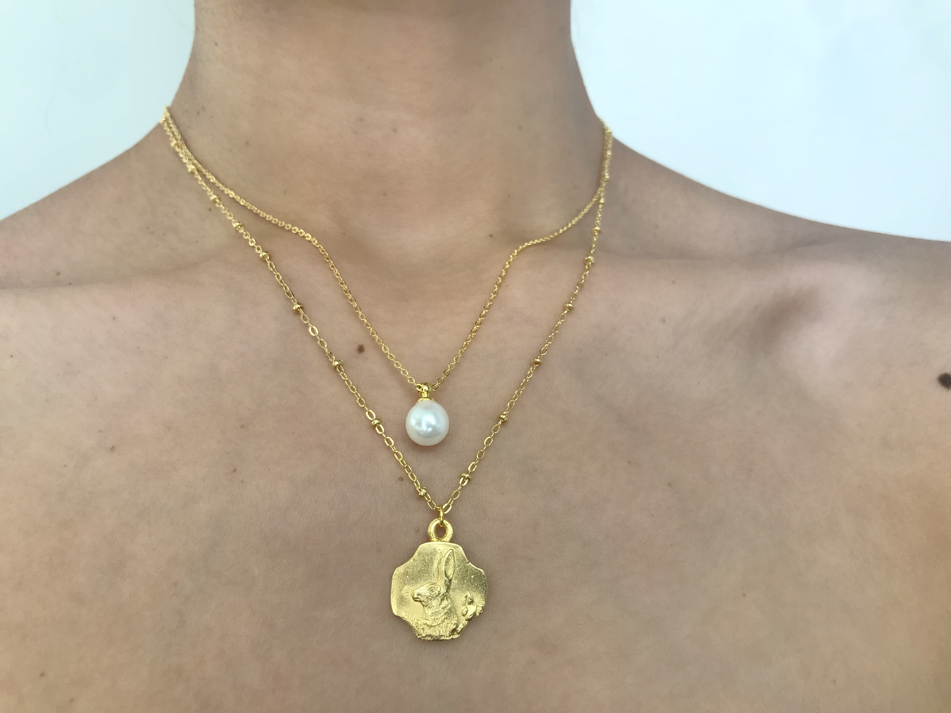 Pearl necklace, large pearl necklace, gold pearl necklace, rabbit necklace, bunny necklace