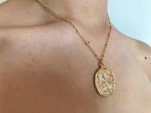 Large gold coin charm, gold charm, large charm necklace, gold coin necklace, coin jewelry