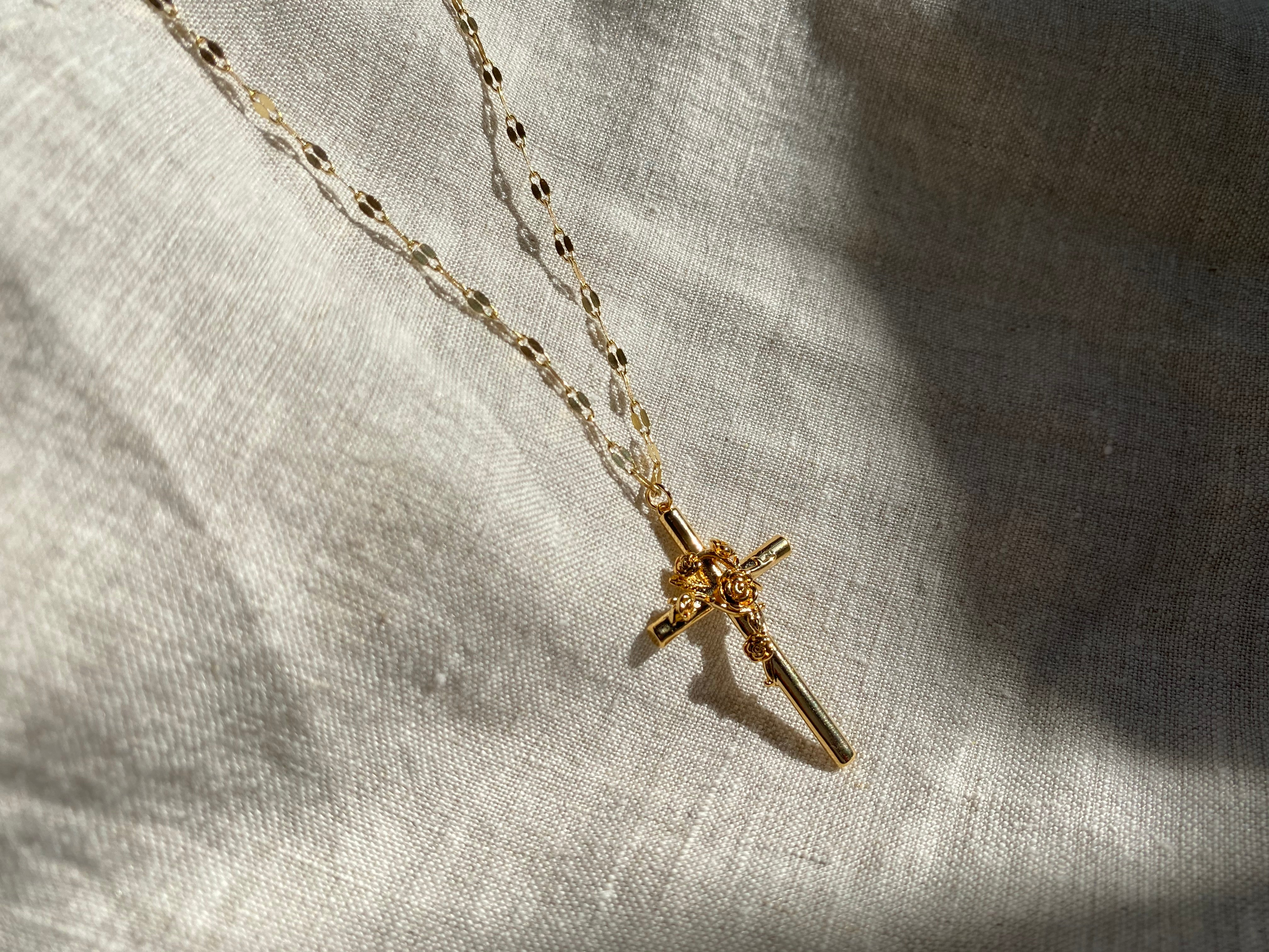 rose cross necklace, rose cross, rose cross chain, cross necklace