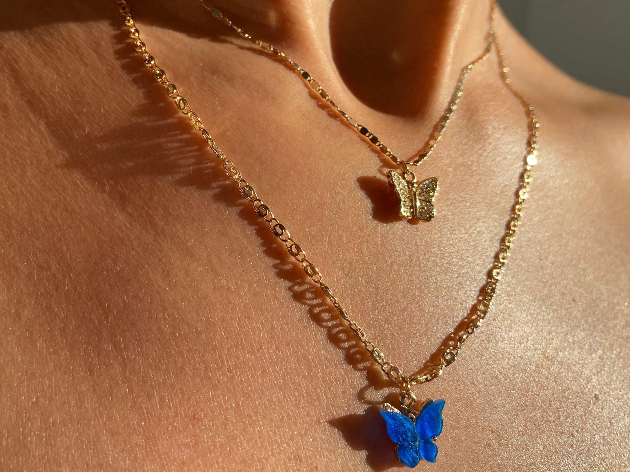 butterfly necklaces, colored butterfly necklaces, blue butterfly charm, dainty butterfly, cute butterly necklace, kylie necklacces, gold necklace