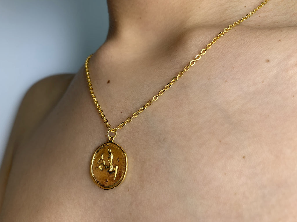 Capricorn necklace, Capricorn gold necklace, Capricorn zodiac necklace, Capricorn gold charm necklace, coin necklace, Capricorn coin necklace, Capricorn charm, Capricorn