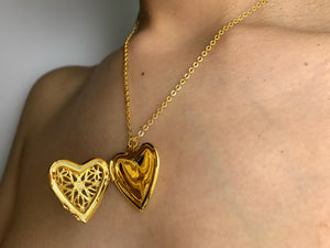Heart locket, heart chain, heart necklace, heart gold necklace