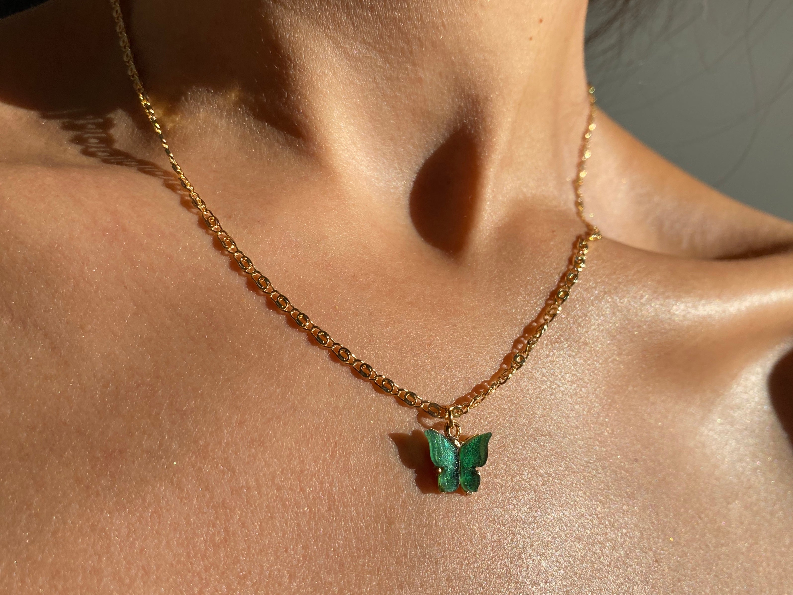 Green butterfly, gold dainty jewelry, gold jewelry, butterfly necklace, gold tiny jewelry, kylie necklace, kylie butterfly necklace, cute dainty necklace