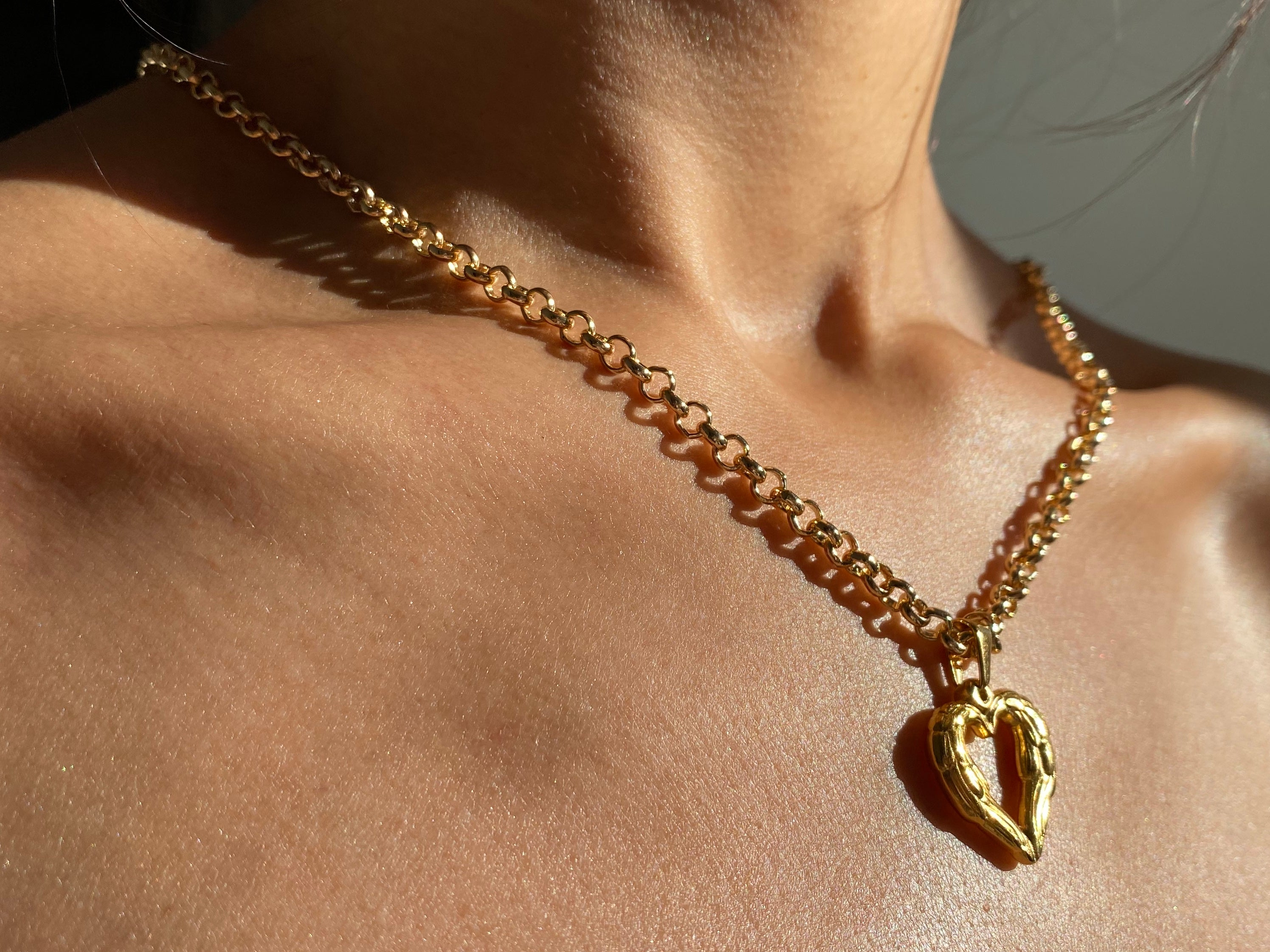 Chunky gold necklace, Heart necklace, unique jewelry, unique necklace, thick necklace, chunky jewelry, chunky jewelry, tiktok jewelry