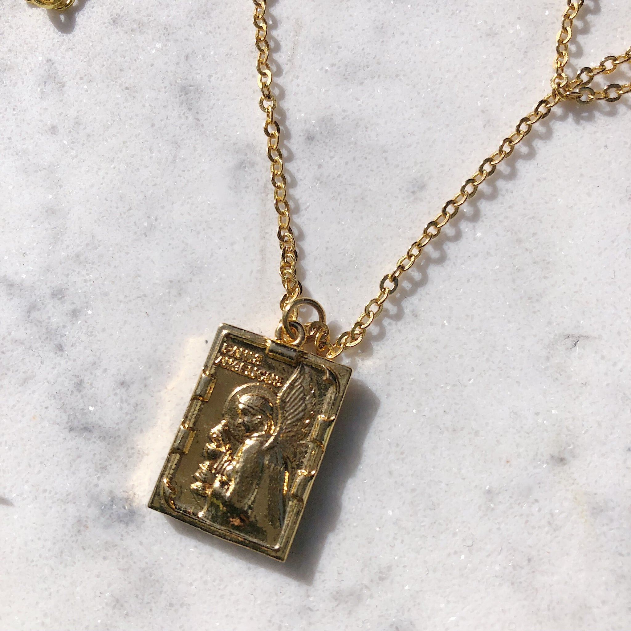 Bible - Rectangular Charm Necklace
