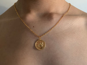 taurus coin necklace, taurus coin jewelry, taurus gold necklace,gold necklace, goldchoker, goldchain, astrology jewelry, zodiac jewelry