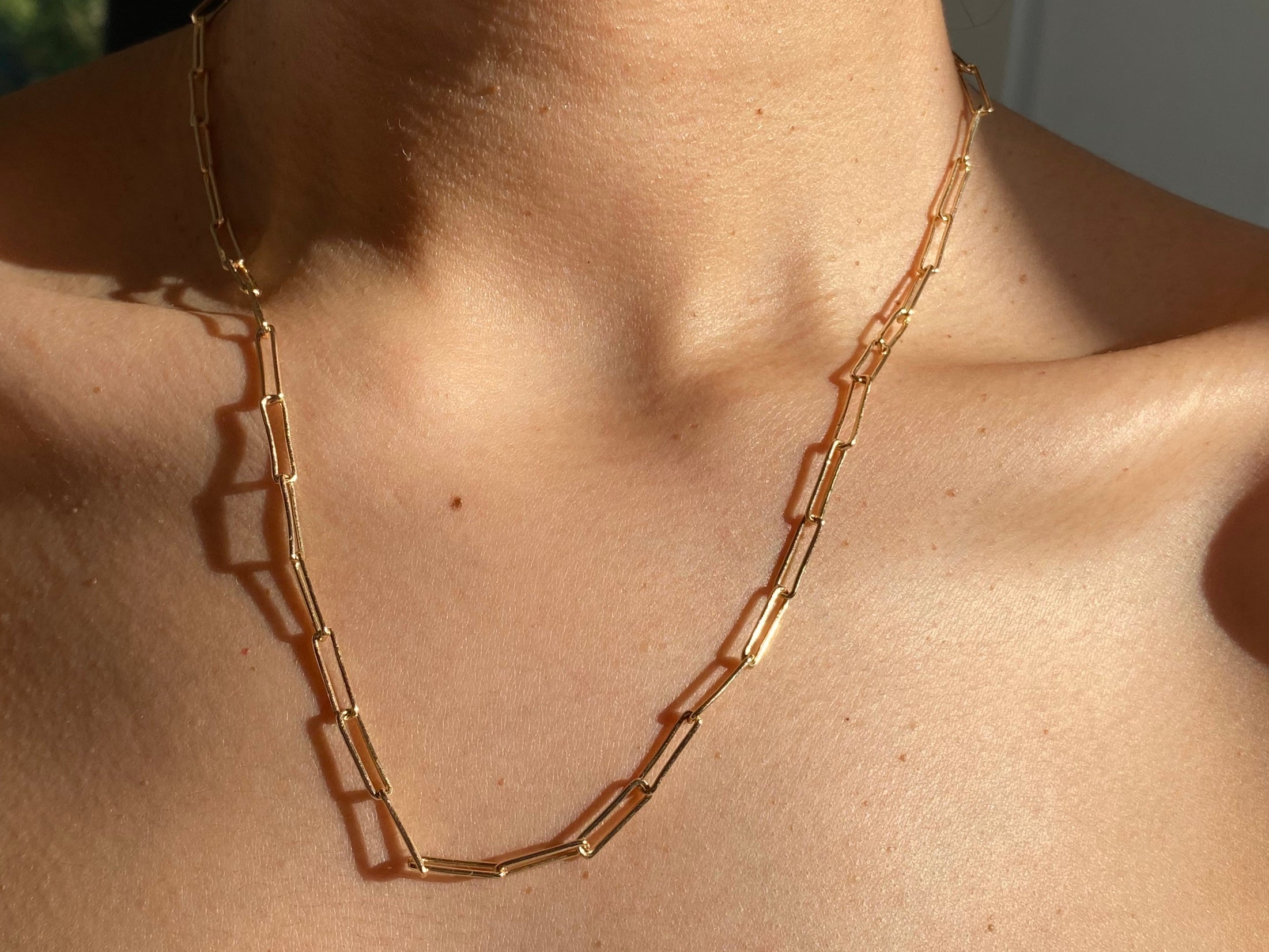 Paper clip necklace, paper clip chain, paper clip jewelry, paper clip necklace, gold necklace, thick chain necklace