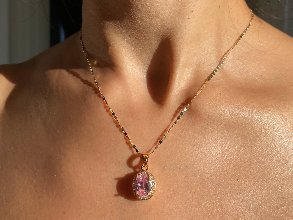 Pink gem necklace, pink diamond necklace, pink jewelry, pink rock jewelry, pink necklace, gold necklace, gold pink jewelry