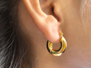 Thick hoop earrings, chunky hoop earrings, chunky small hoops, small hoops, gold earrings