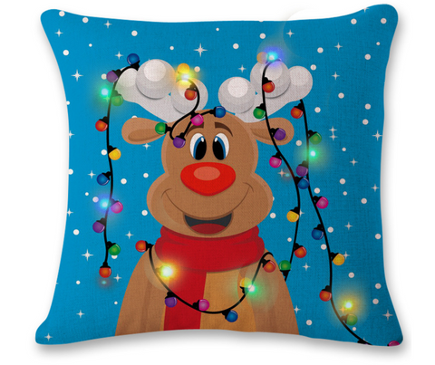 The new cross-border trade lights LED lights Christmas pillow pillow pillowcase with creative printed linen
